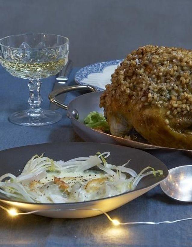 Repas de Noël sans gluten : Gratin d'endives mandarine parmesan