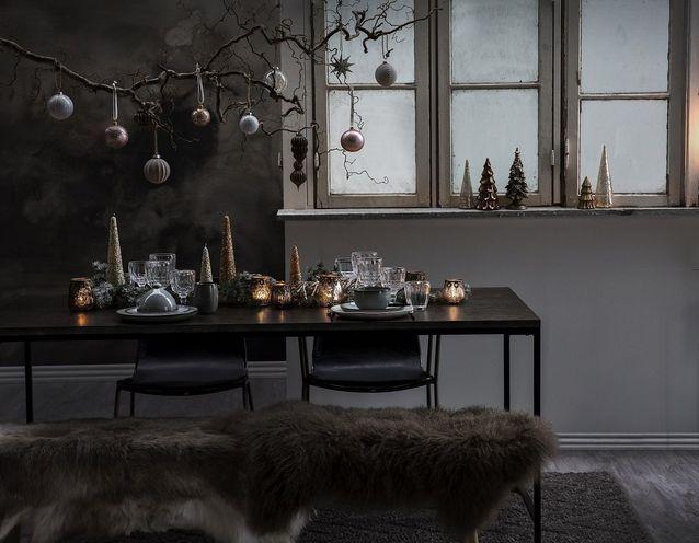 Centre de table de Noël avec bougie en forme de sapin