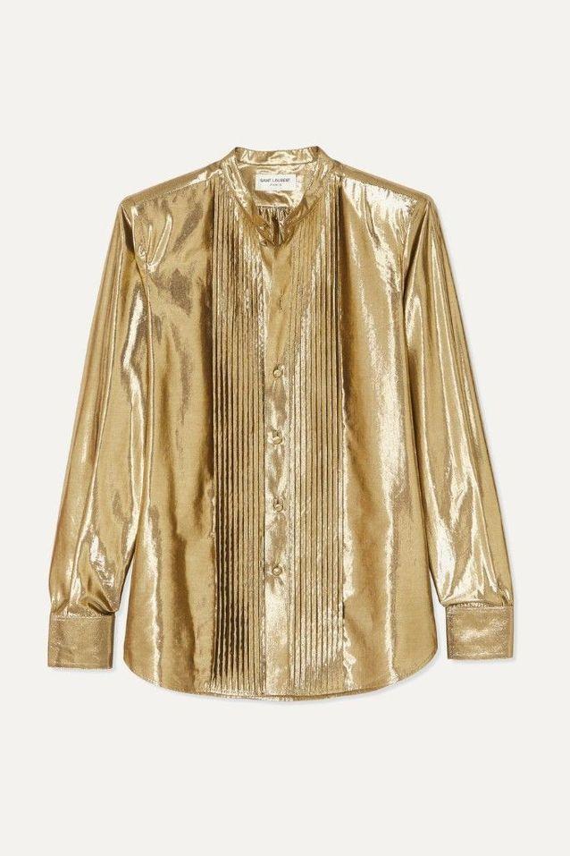 Chemise dorée Saint Laurent
