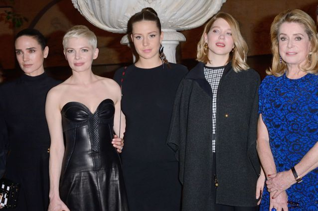 Jennifer Connelly, Michelle Williams, Adèle Exarchopoulos, Léa Seydoux et Catherine Deneuve au défilé Louis Vuitton