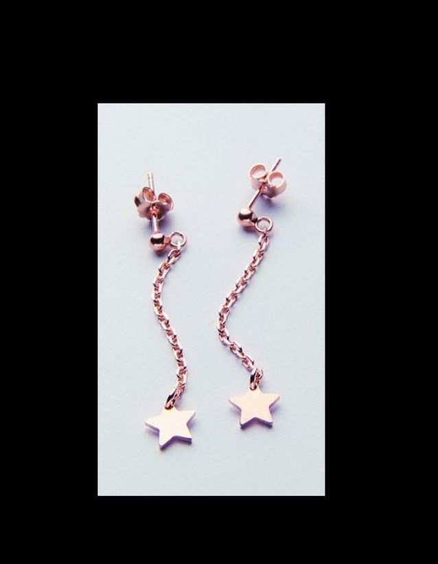 Very Sisters boucles d'oreille etoile plaque or rose