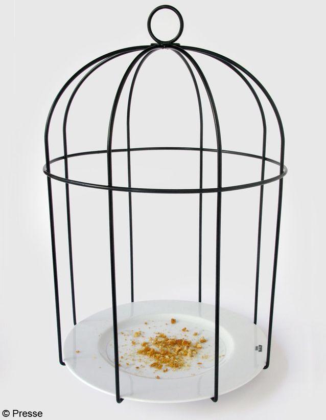 Mangeoire à oiseaux en porcelaine et fil d'acier Atypyk