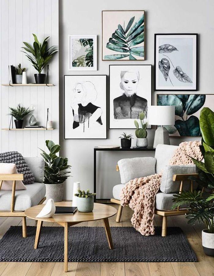 Mélangez des cadres illustrés d'affiches végétales et des plantes bien réèlles