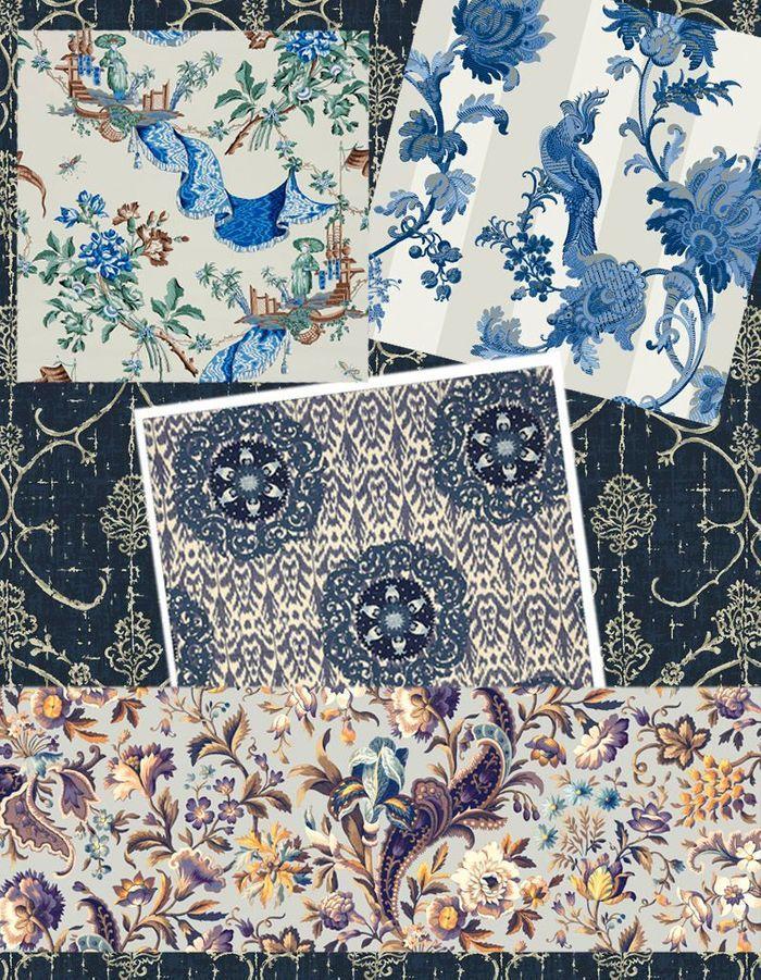 Papiers peints et tissus bleutés fleuris