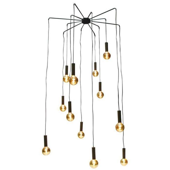 Lustre Vintage avec 12 Ampoules Dorées