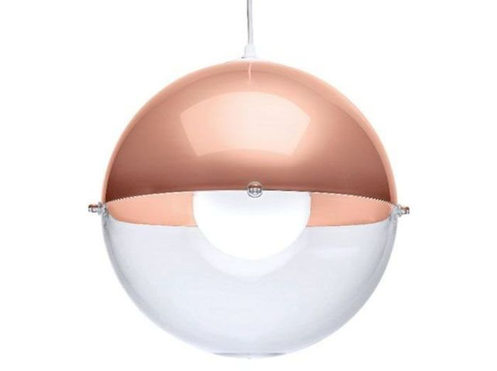 Suspension transparente et rose gold