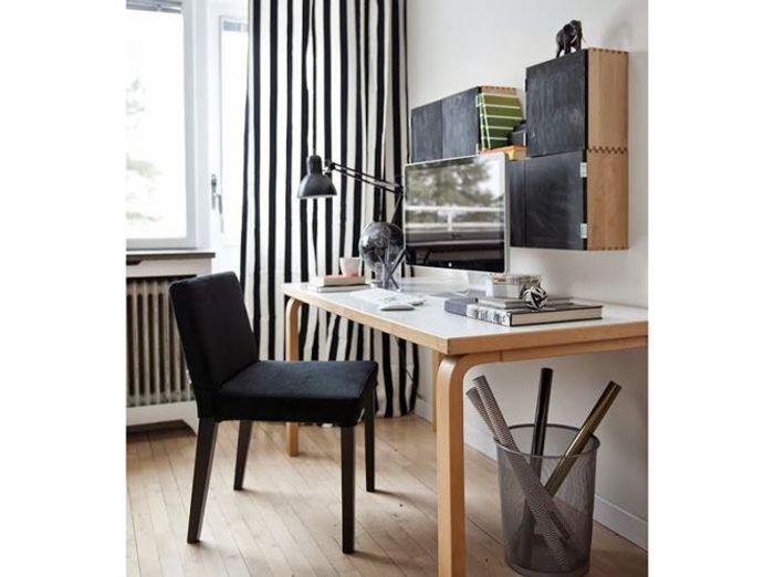 Un coin bureau qui combine mobilier blanc et mobilier noir