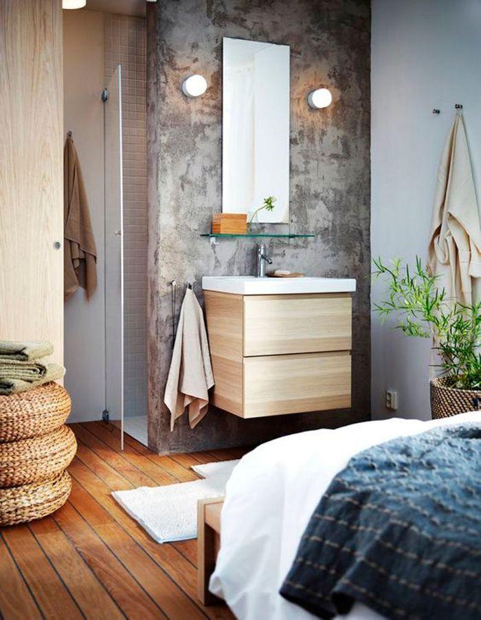 Une salle de bains grise qui se marie parfaitement au bois