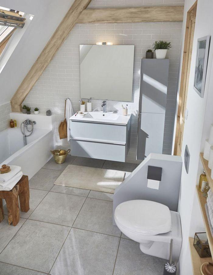Une salle de bains grise toute en nuances