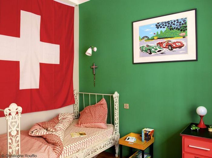 Chambre garcon mur vert