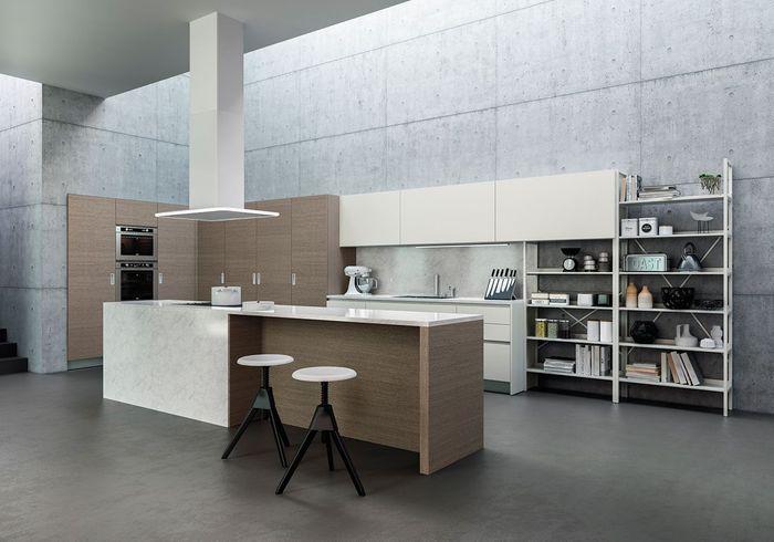 Une cuisine ouverte en marbre et bois