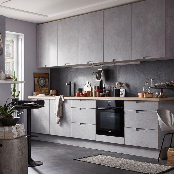 Une cuisine total look gris béton