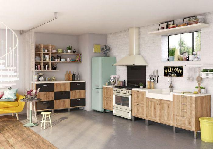 Une cuisine ouverte délimitée grâce au sol
