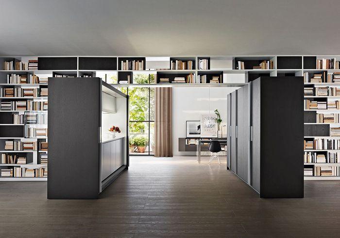 Une cuisine ouverte façon couloir