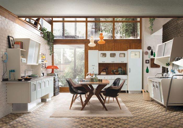 Une cuisine ouverte qui impose son style vintage