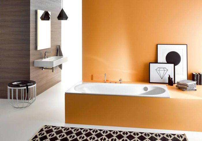 Salle de bains design colorée