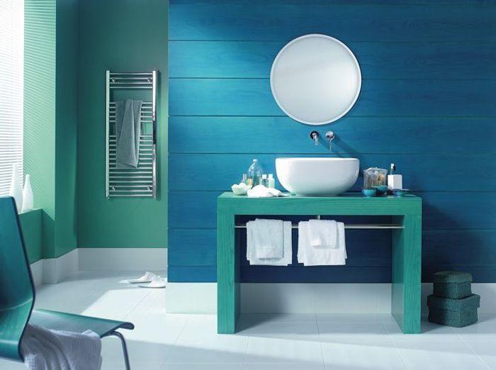 Salle de bains bleu vert maitre en couleur