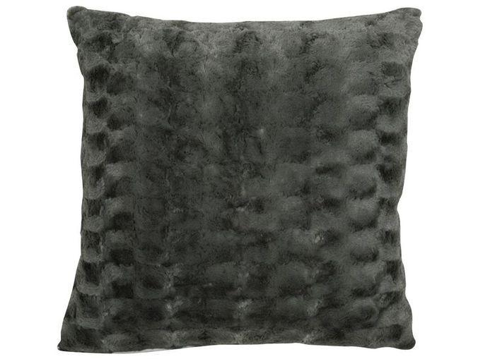 Un canapé gris accompagné d'un coussin tout doux