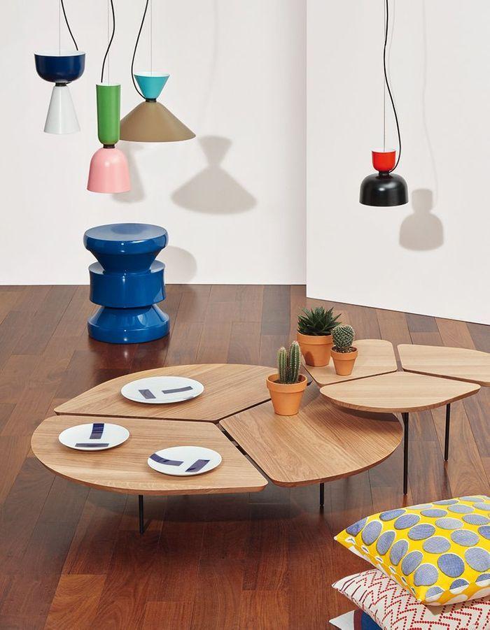 Table basse en bois comme une fleur