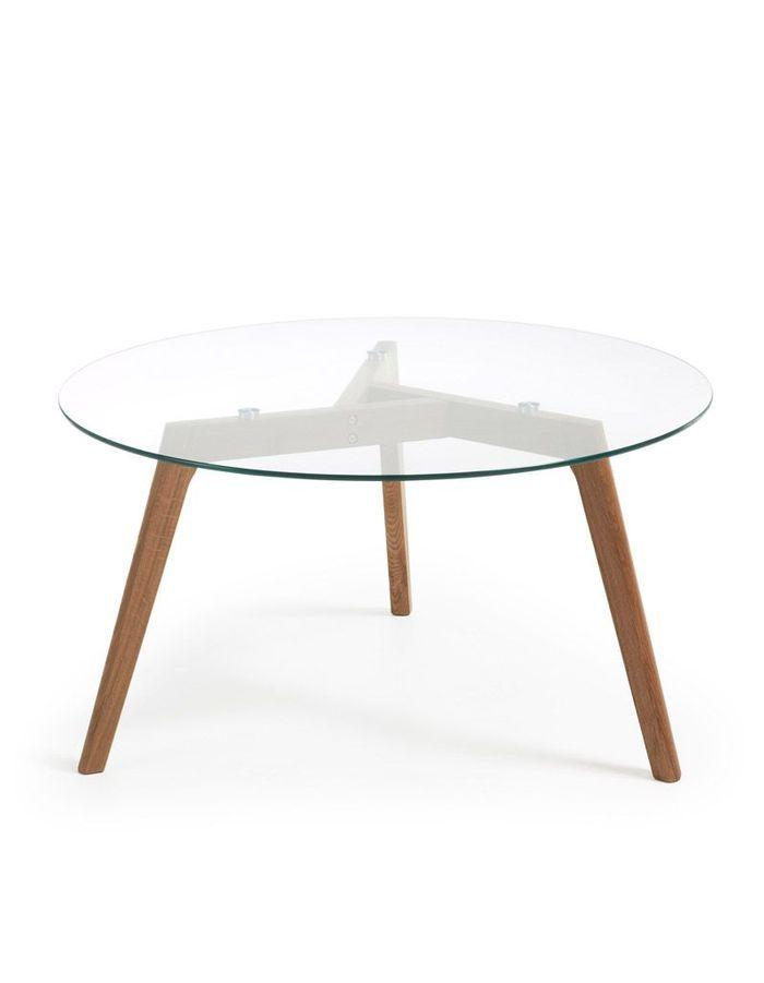 Table basse en bois et verre