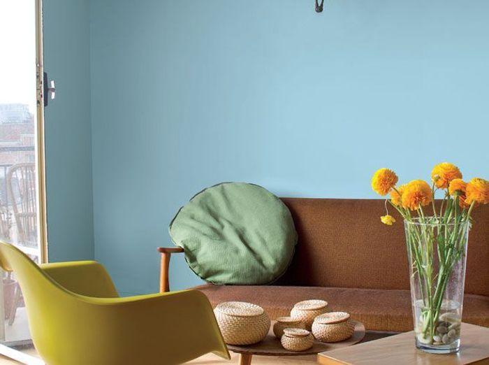 Une peinture bleu rétro pour mon salon