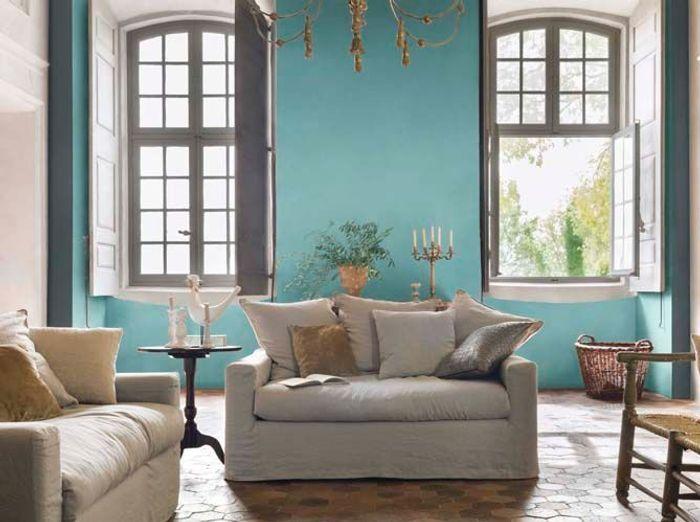 Une peinture bleu turquoise pour mon salon