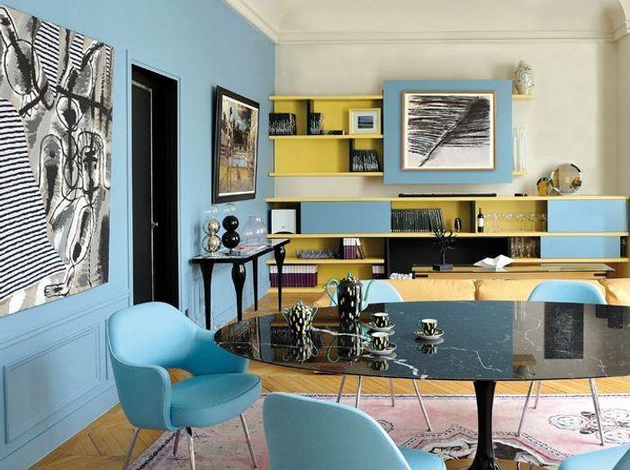 Une peinture bleu vintage pour mon salon