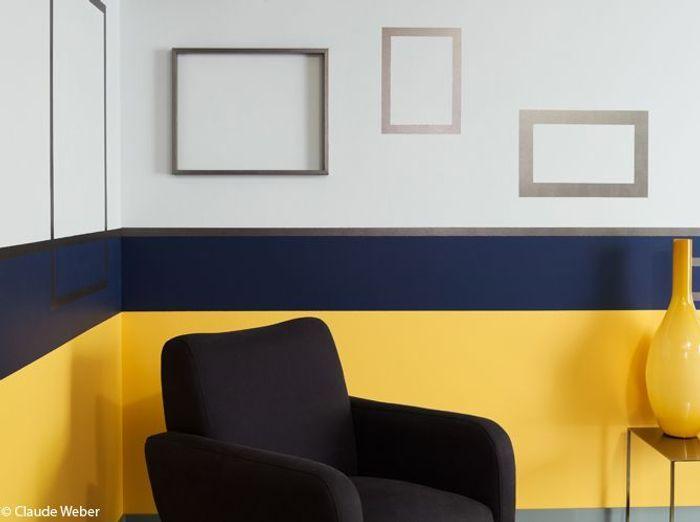 Une peinture jaune ambrée mixée à du gris et du bleu pour mon salon