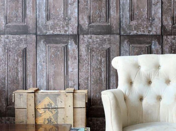 Papier peint effet portes en bois