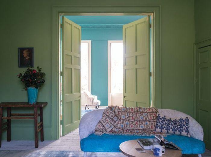 Vert pistache et jeu de bleus