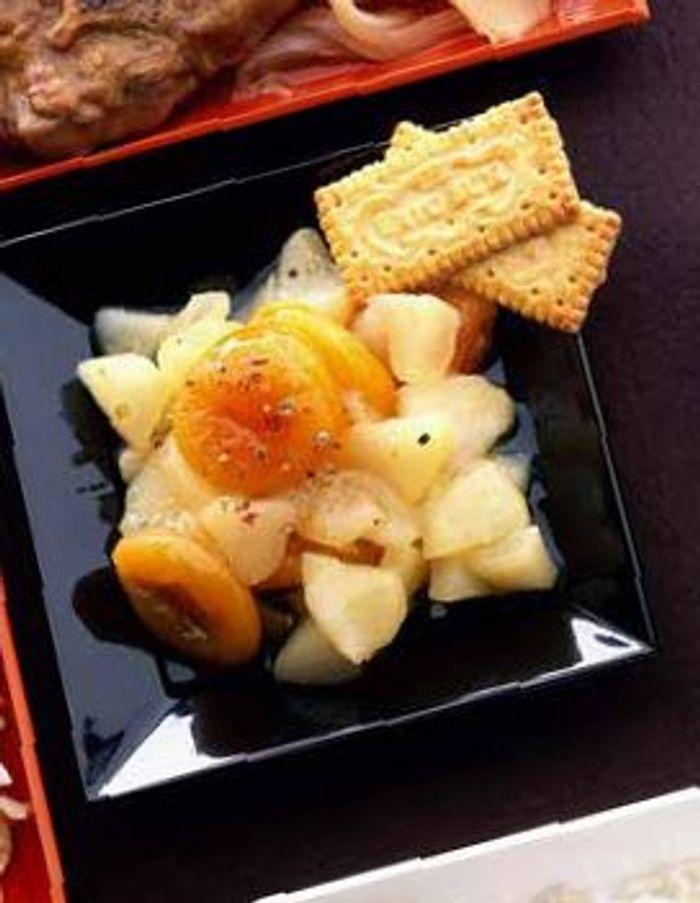 Compote poivree de poires et abricots secs