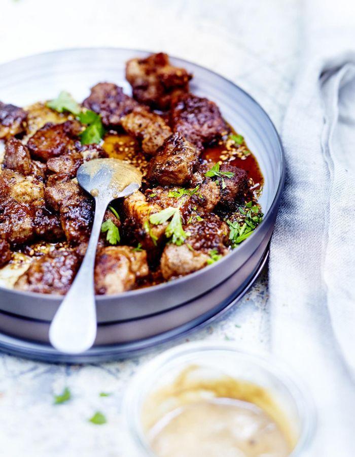 Bouchées porc, miel et tahiné