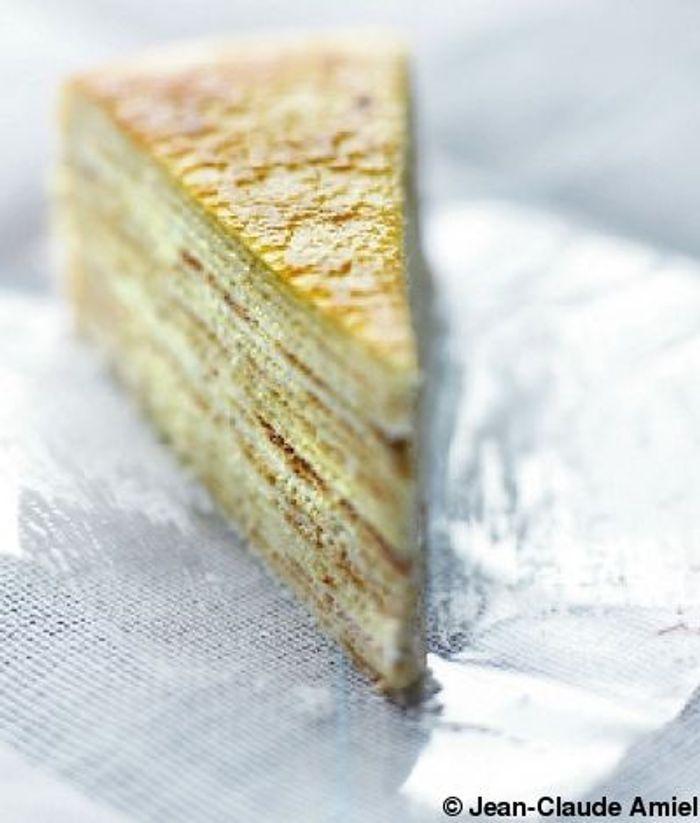 Gâteau de crêpes, crème au lime