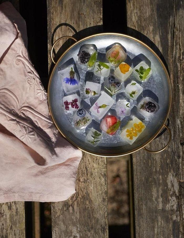 Glaçons infusés décoratifs aux fleurs et aux fruits