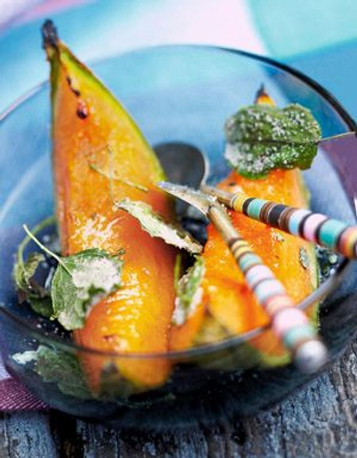 Melon rôti, huile d'olive et cassonade