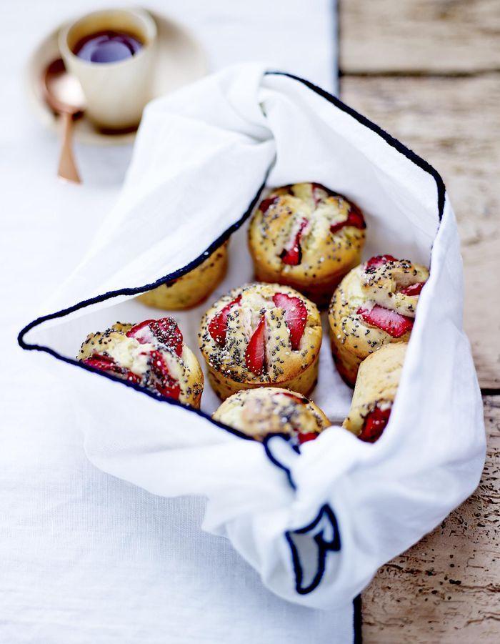 Muffins aux fraises et graines de chia