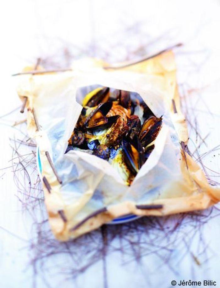 Papillotes de moules  au fenouil et curry