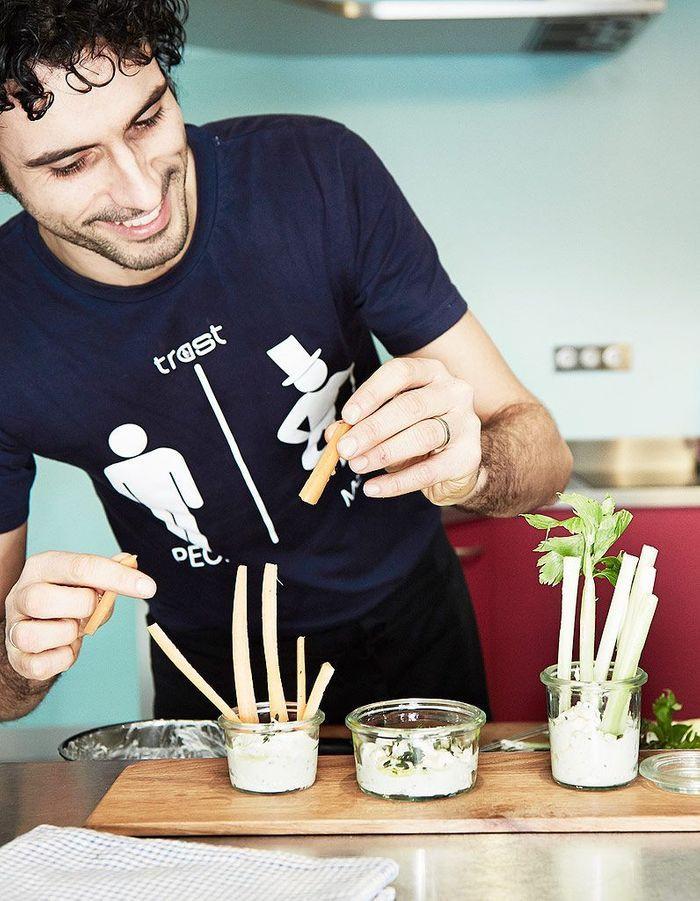 « Pinzimonio » : légumes croquants et dip de chèvre frais au thym de Marco Bianchi