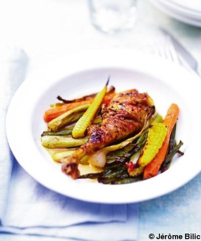 Poulet aux mini-légumes grillés