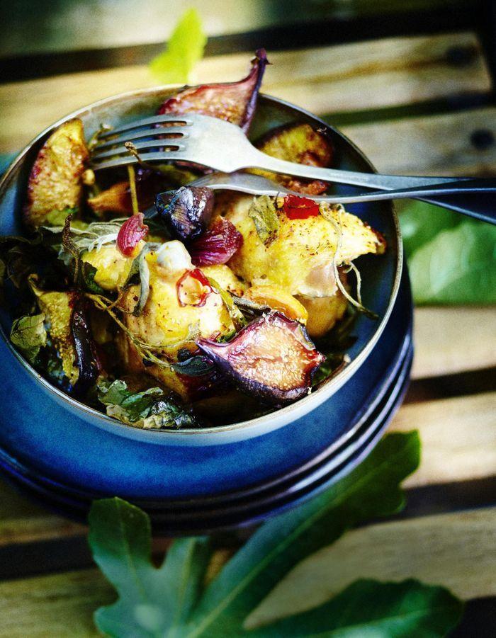 Poulet rôti aux figues, citron et sauge