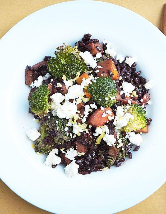 Riz noir venere, potimarron, brocoli et feta de Marco Bianchi