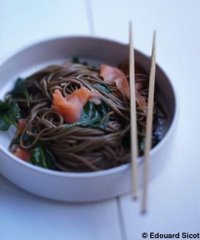 Soba au saumon et pousses d'épinards
