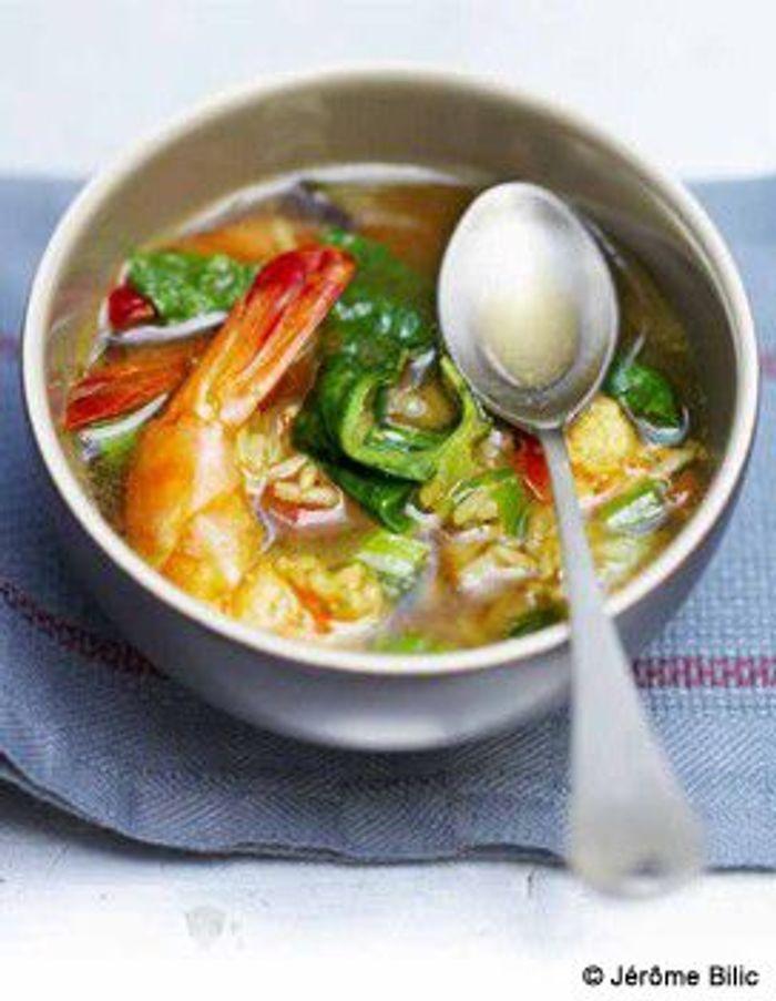 Soupe de gambas, riz et curry