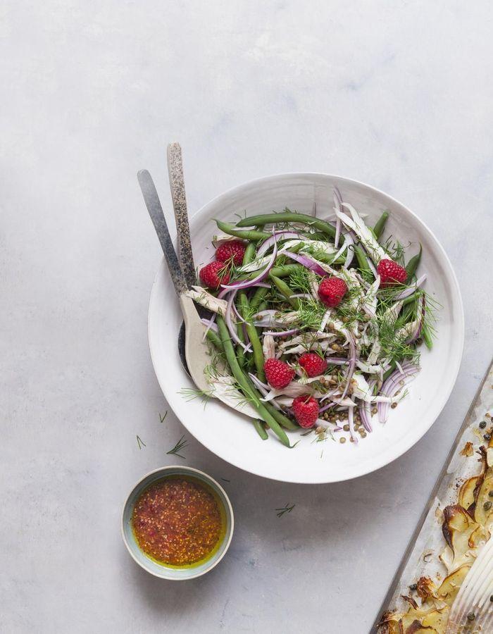 Salade de raie, lentilles et framboises