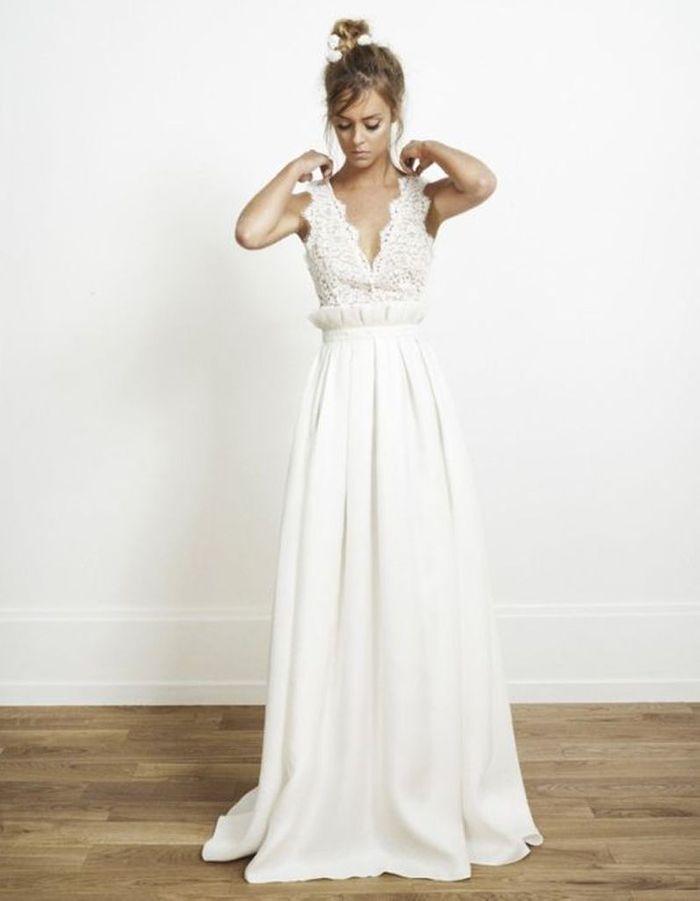 Robe de mariée de princesse décolletée