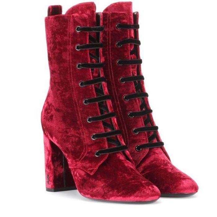 Bottes rouges à lacets Yves Saint Laurent
