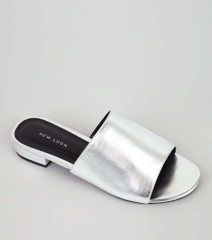 Silver mules New Look