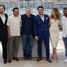 "Jonathan Jakubowicz, Roberto Duran, Robert de Niro, Edgar Ramirez, Ana De Armas et Usher au photocall de ""Hands of Stone"""