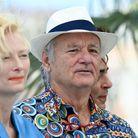 Tilda Swinton et Bill Murray au photocall du film The French Dispatch lors du 74e Festival de Cannes