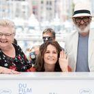 Danielle Fichaud, Valérie Lemercier et Roc Lafortune lors du photocall du film Aline